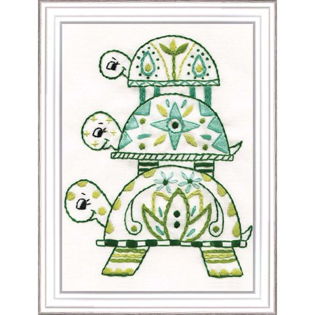 Brazilian Embroidery Design - Design Works™ Trio of Turtles Stamped Embroidery Kit