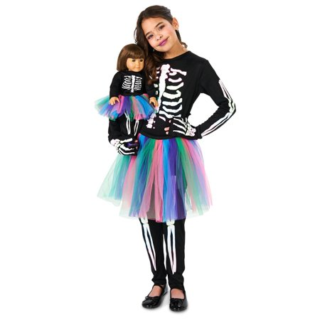 Skeleton Tutu Child Costume with Matching 18 Doll Costume