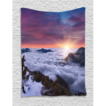 Nature Tapestry, Winter Landscape in the Mountains Sunset Majestic Scenes from the World Photo, Wall Hanging for Bedroom Living Room Dorm Decor, 40W X 60L Inches, Muave White Brown, by