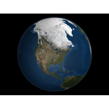 A global view over North America with Arctic sea ice shown on April 8 2006 Land areas display the average seasonal landcover from April 2004 Poster Print - Average Spent On Halloween