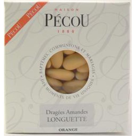 Untra Fine French Dragees Pecou -  Thin Shelled French Jordan Almonds Apricot Color 1 KG, 2.2 lbs (Almonds Apricots)