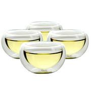 Set Of 4 Teaology Luna Double Wall Borosilicate Tea/Espresso Cups