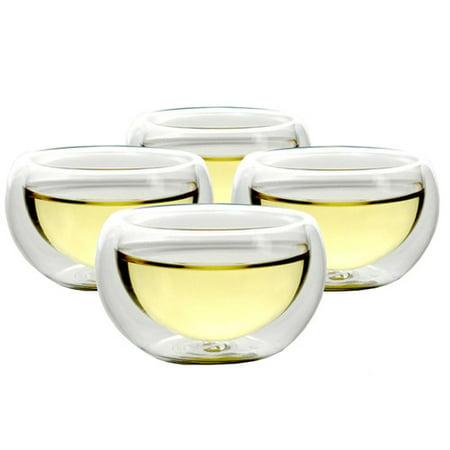 Set Of 4 Teaology Luna Double Wall Borosilicate Tea/Espresso Cups ()