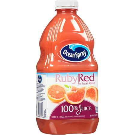 (2 Pack) Ocean Spray 100% Juice, Ruby Red Grapefruit, 60 Fl Oz, 1 Count