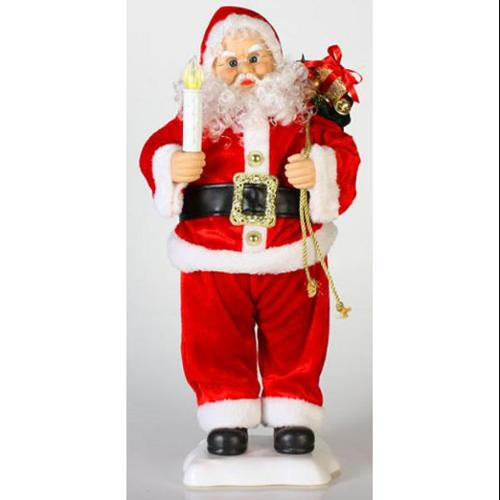 """24"""" Animated Santa Claus with Candle and Toy Bag Christmas Table Top Figure"""
