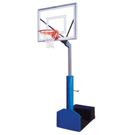 Navy Blue Team Ball - First Team Rampage III Steel-Acrylic Portable Basketball System44; Navy Blue