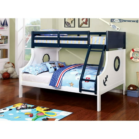 Furniture Of America Willem Twin Over Full Bunk Bed In Blue And