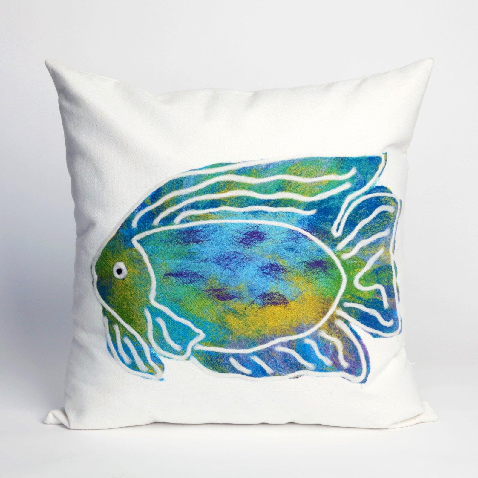 Liora Manne Batik Fish Indoor / Outdoor Throw Pillow