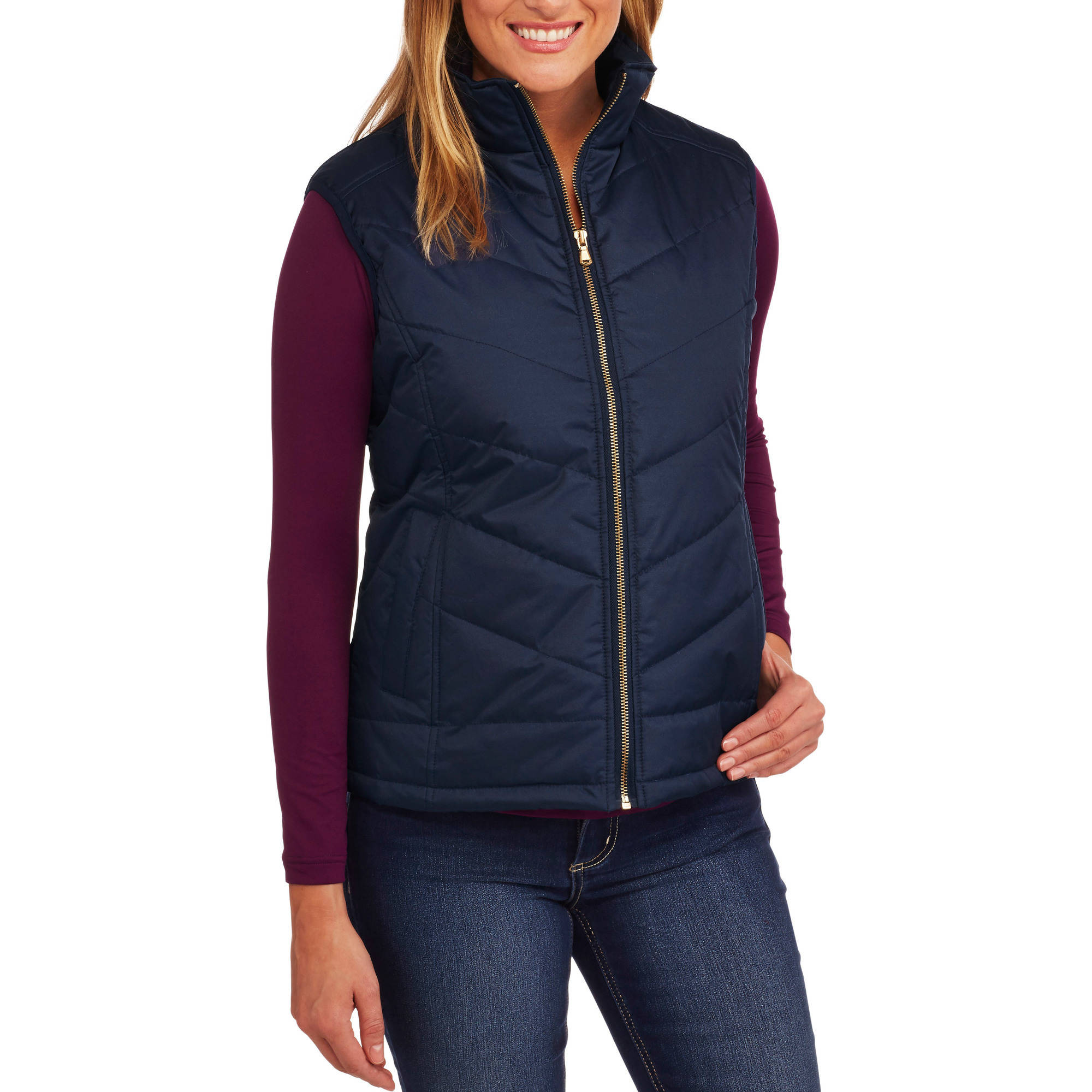 Climate Concepts Women's Quilted Puffer Vest With Gold Zipper