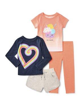 Garanimals Baby Toddler Girl T-shirts, Leggings & Shorts, 4 pc Outfit Set