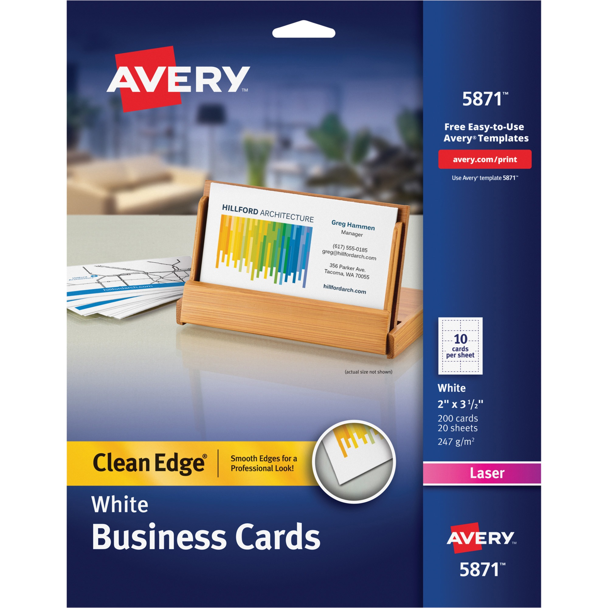 Avery Clean Edge Business Cards, Laser, 2 x 3 1/2, White, 200/Pack ...