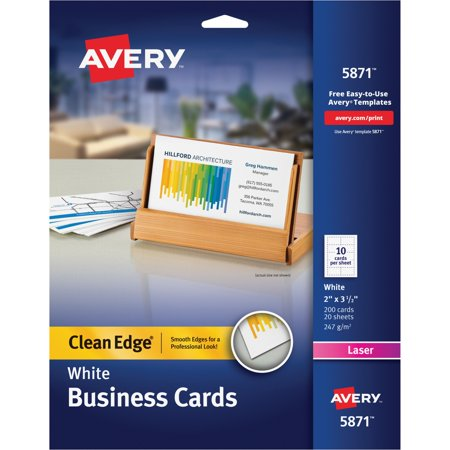 Avery Clean Edge Business Cards, Laser, 2 x 3 1/2, White, 200/Pack