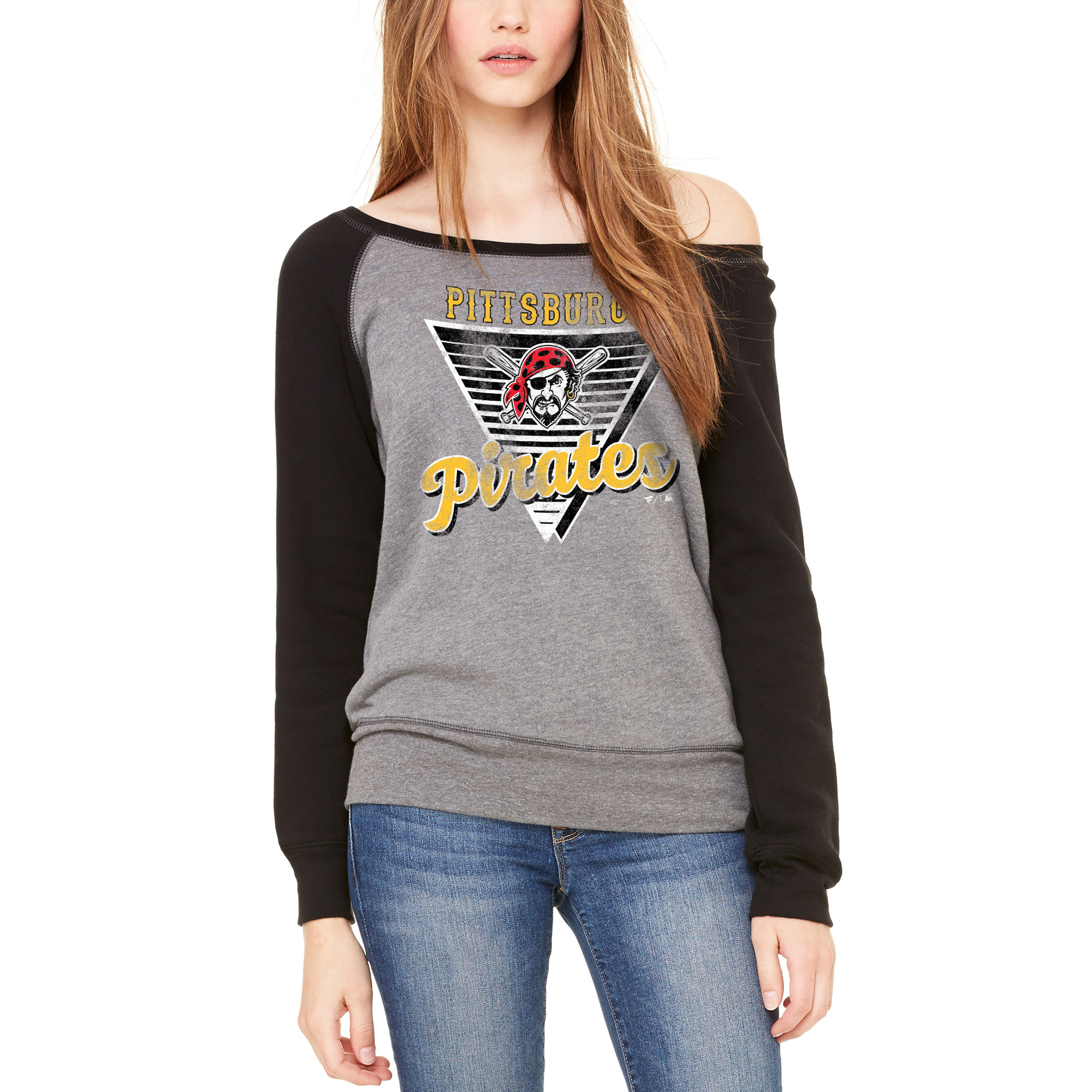 Pittsburgh Pirates Let Loose by RNL Women's Eighty Something Wide Neck Sweatshirt - Heather Gray/Black