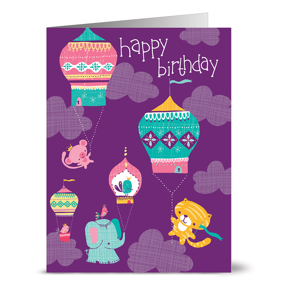 24 Note Cards - Hot Air Balloon Happy Birthday - Blank Cards - Pink Envelopes Included
