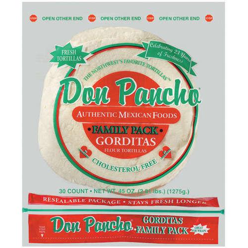 Don Pancho: Gorditas Family Pack 30 Ct Flour Tortillas, 45 oz