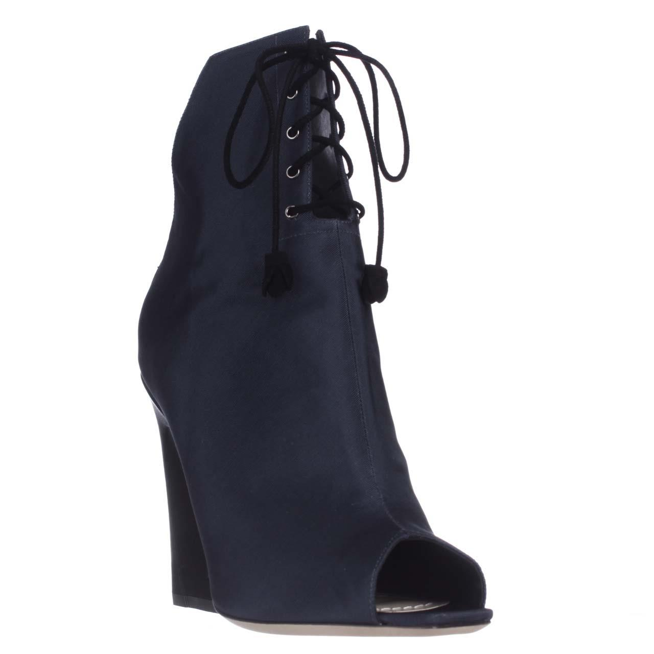 Womens Dior Brooklyn Lace-Up Peep-Toe Ankle Booties, Midn...
