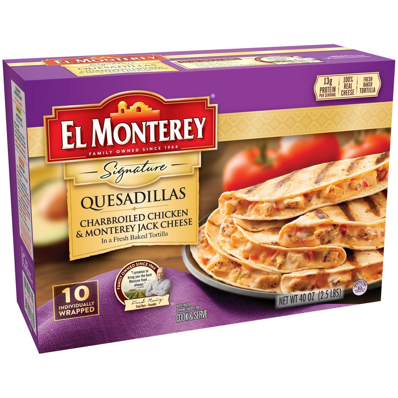 El Monterey® Signature Quesadillas Charbroiled Chicken & Monterey Jack Cheese 40 oz. Box