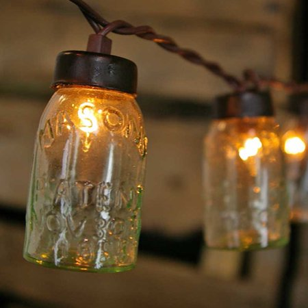 Wedding Lights String Lights 10 Mini Glass Mason Jars