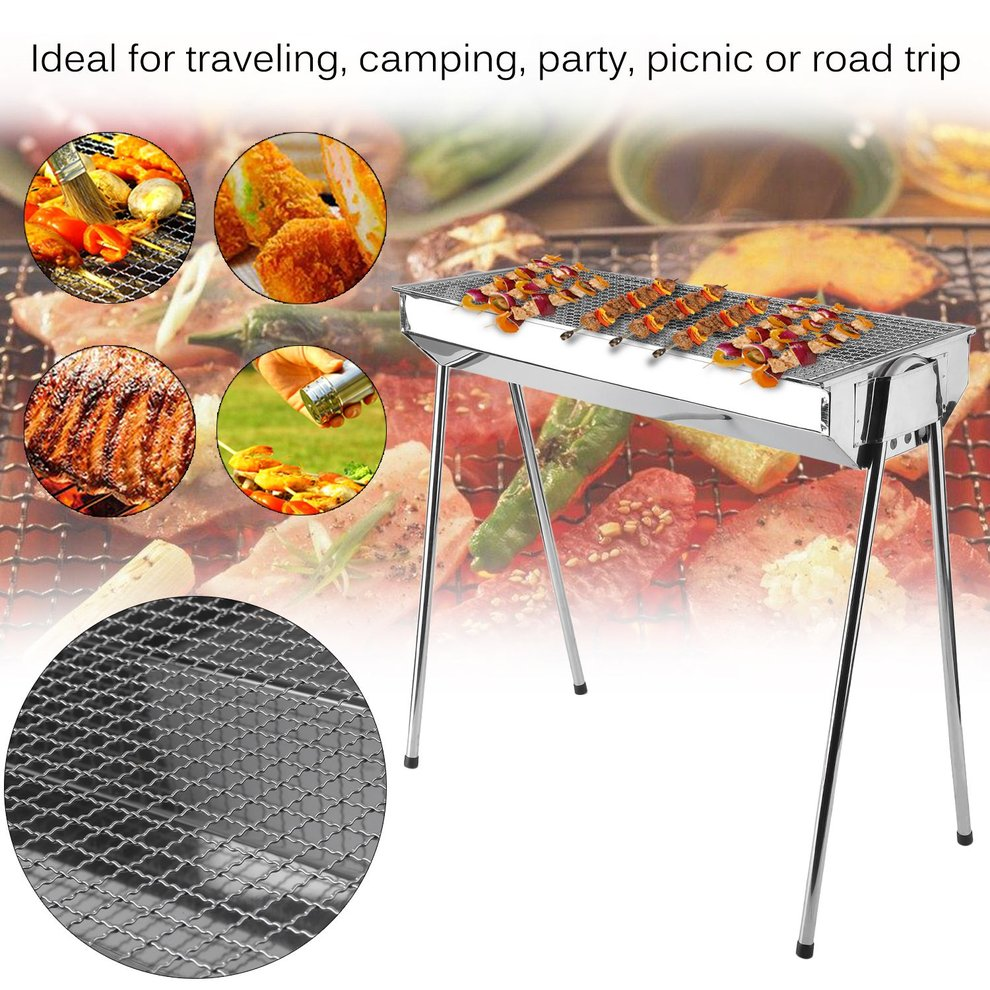 Stainless Steel Foldable Barbecue Charcoal Grill Outdoor Portable BBQ Stove