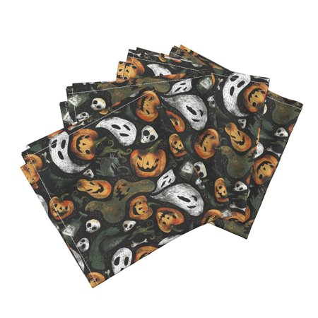 Spooky Halloween Dinner (Spooky Vintage Retro Rustic Scary Cotton Dinner Napkins by Roostery Set of)