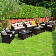 Gymax 8pcs Outdoor Rattan Sectional Sofa Set w/Cushion Armrest Patio