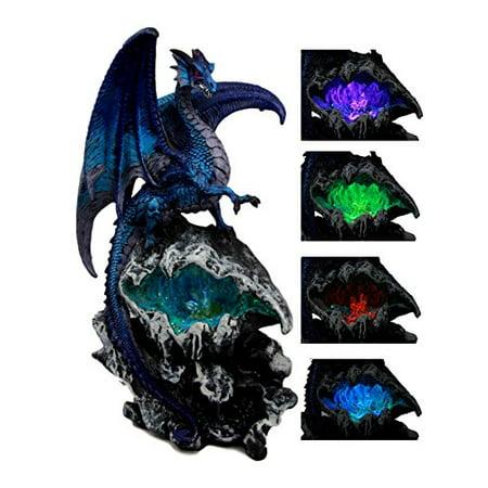 Ebros Gift Aqua Spyro Elemental Dragon Fossil Cave Crystal Mine Guardian LED Night Light Figurine 12.5