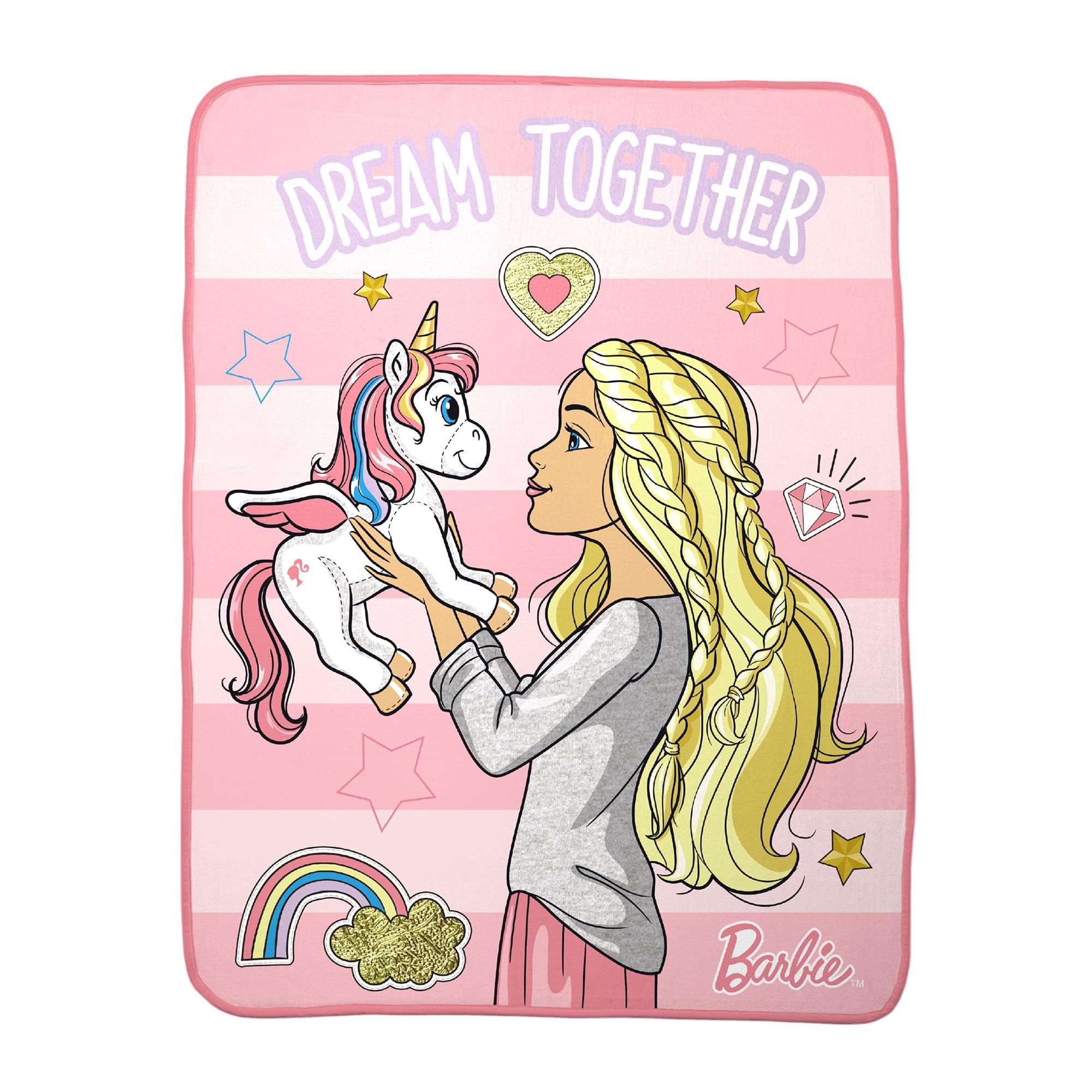 Mattel Barbie Dreaming Big Kids Bedding Silky Soft Throw Blanket, 1 Each