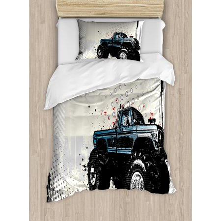 Truck Twin Size Duvet Cover Set, Halftone Pattern Background with Color Splashed Frame and Monster Truck Motif, Decorative 2 Piece Bedding Set with 1 Pillow Sham, Ivory Blue Black, by Ambesonne