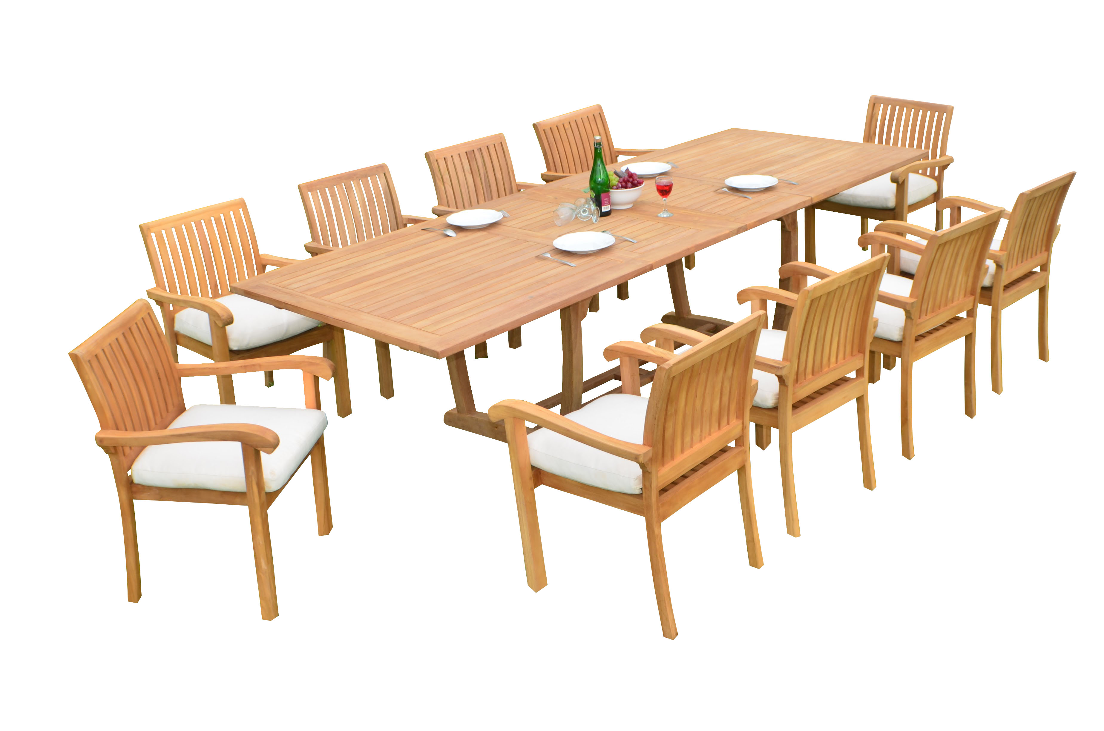 "11 PC A Grade Outdoor Patio Teak Dining Room Set 117"" Double Extension Masc Rectangle Table & 10 Naples... by"