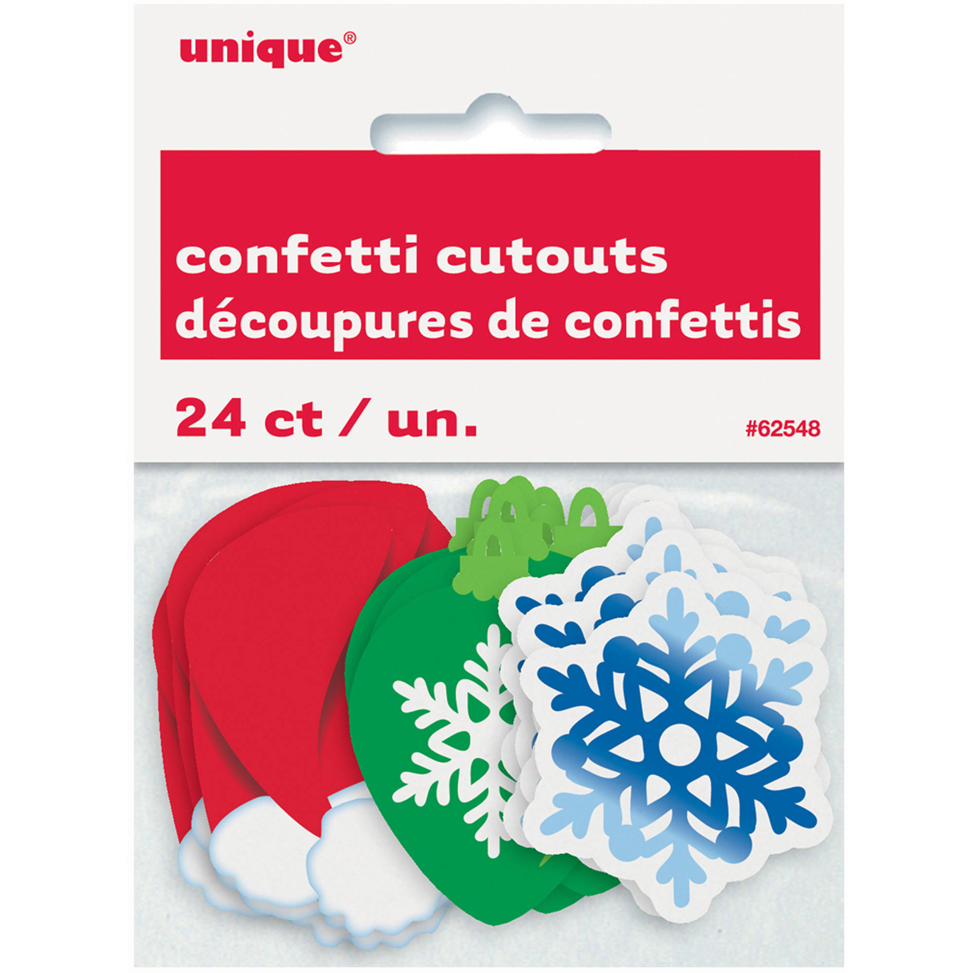 Paper Confetti Cut Out Christmas Decorations, 24-Count