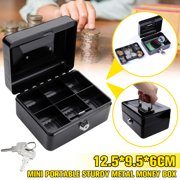 "6"" Mini Portable Money Safe Storage Black Sturdy Metal With Coin Tray Cash Box"