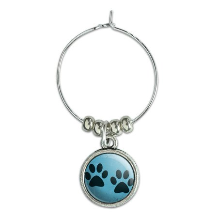Print Drink - Paw Prints Artsy Blue Wine Glass Charm Drink Marker