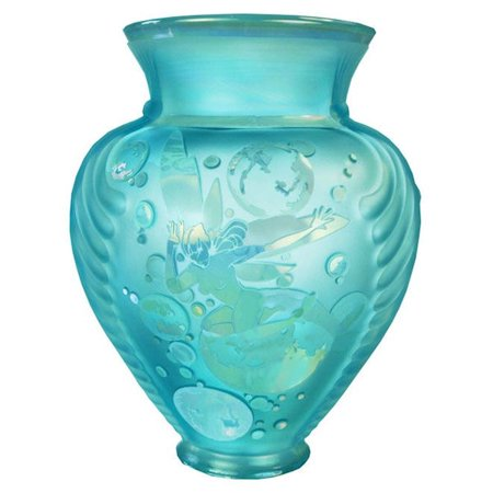 Fenton Art Glass 2010 Cameo Gallery 2756CJ Bubble Magic Cameo Carved Vase in Robin's Egg Blue Opalescent - Large Cameo Glass Art