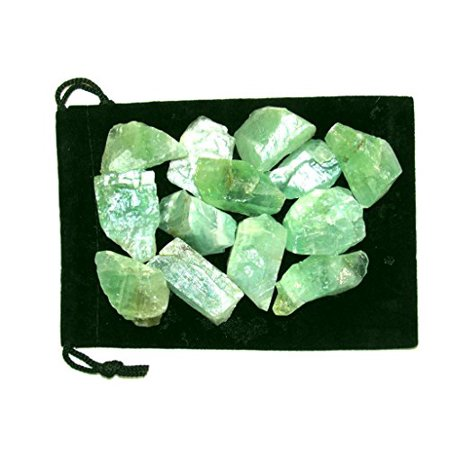 Zentron Crystal Collection: 1/2 Pound Green Calcite in Velvet Pouch Large Natural Rough Bulk Raw Stones for Wire Wrapping, Polishing, Tumbling, Reiki and Wicca
