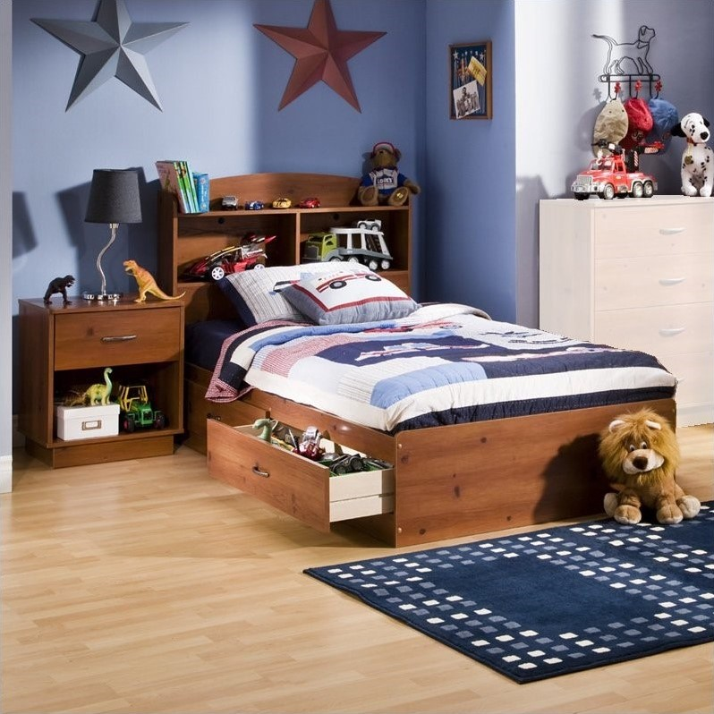 South Shore Logik Kids Sunny Pine Twin Wood Mates Storage Bed 3 Piece Bedroom Set & South Shore Logik Kids Sunny Pine Twin Wood Mates Storage Bed 3 ...