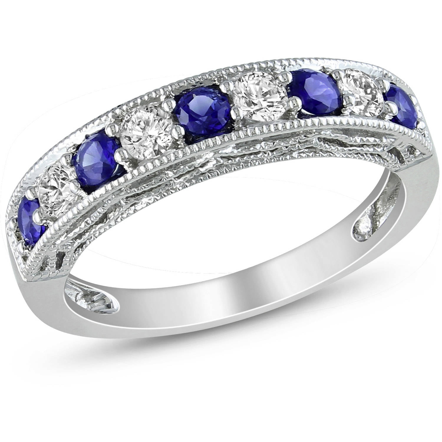 Tangelo 7 8 Carat T G W Created Blue and White Sapphire Sterling