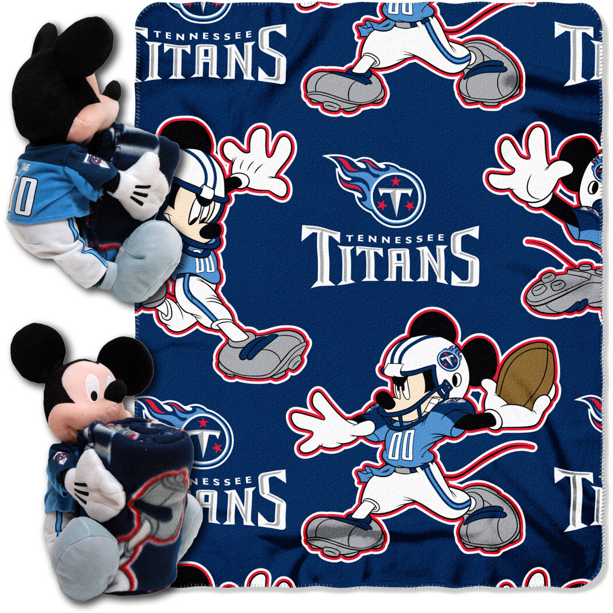 """Official NFL and Disney Cobrand Tennessee Titans Mickey Mouse Hugger Character Shaped Pillow and 40""""x 50"""" Fleece Throw Set"""
