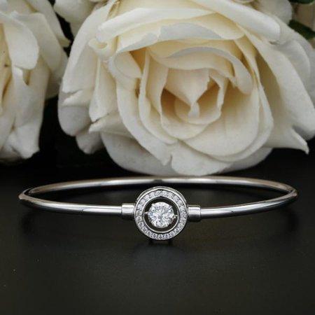 1 Carat Bangle Bracelet - Moving Stone Bracelet - Unique Design - Bangle Jewerly - Jewelry Gift - Fine Jewelry - 18k White Gold Over Silver