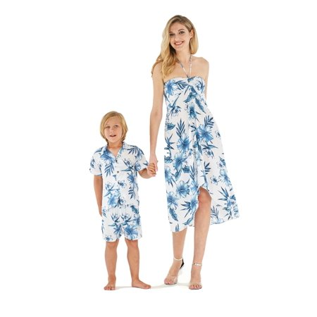 Matching Mother Son Hawaiian Luau Outfit Dress Shirt in Day Dream Bloom Women M Boy 4