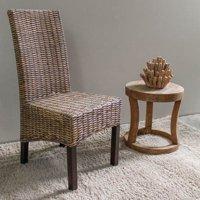 Java Rattan Weave Dining Chair with Mahogany Hardwood Frame - Salak Brown