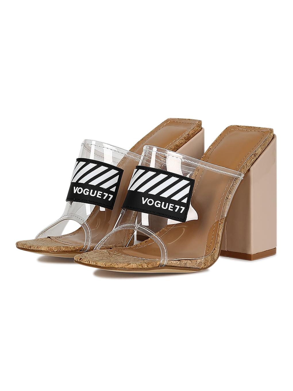 d9eeb918fc Cape Robbin - Women Vogue77 Perspex Open Toe Chunky Block Heel Mule Sandal  18592 - Walmart.com