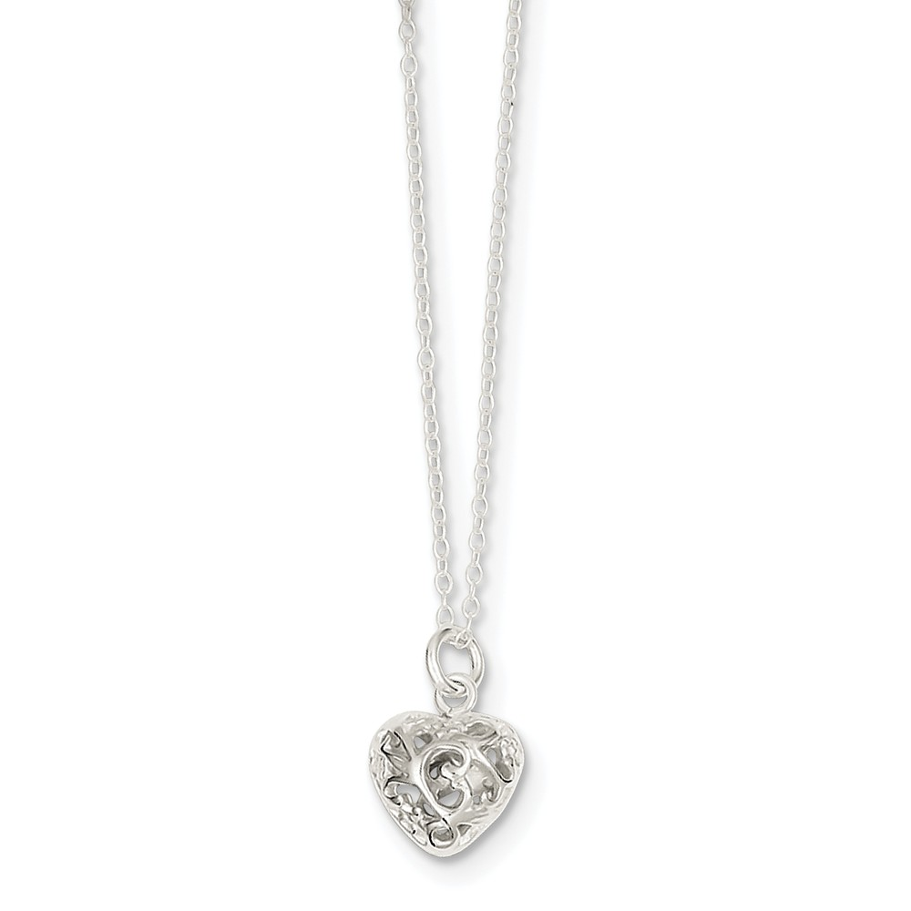 Sterling Silver 18in Polished Puffed Heart Necklace