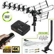 200 Mile Long Range Outdoor HDTV Antenna w/ 360 Degree Rotation Remote Control TV Antenna with 40 ft Cable, Splitter and Mounting Pole UHF VHF FM Radio Support 4 TVs