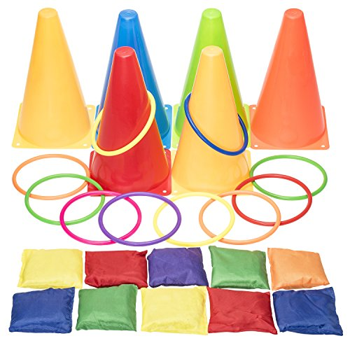 Prextex 3 In 1 Carnival Combo Set Cornhole Beanbags Ring Toss Game and Plastic Cone Set 26... by Prextex