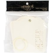 """Staples Die-Cut Cardstock Tags with Ring, 4.5"""" x 5"""", Inspire, Create, Imagine, 3 Each, Ivory"""