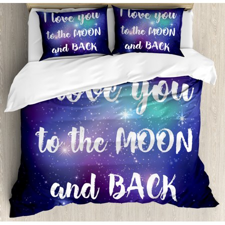 I Love You Duvet Cover Set, Outer Space Background with I Love You to the Moon and Back Typography, Decorative Bedding Set with Pillow Shams, Dark Purple White, by Ambesonne ()
