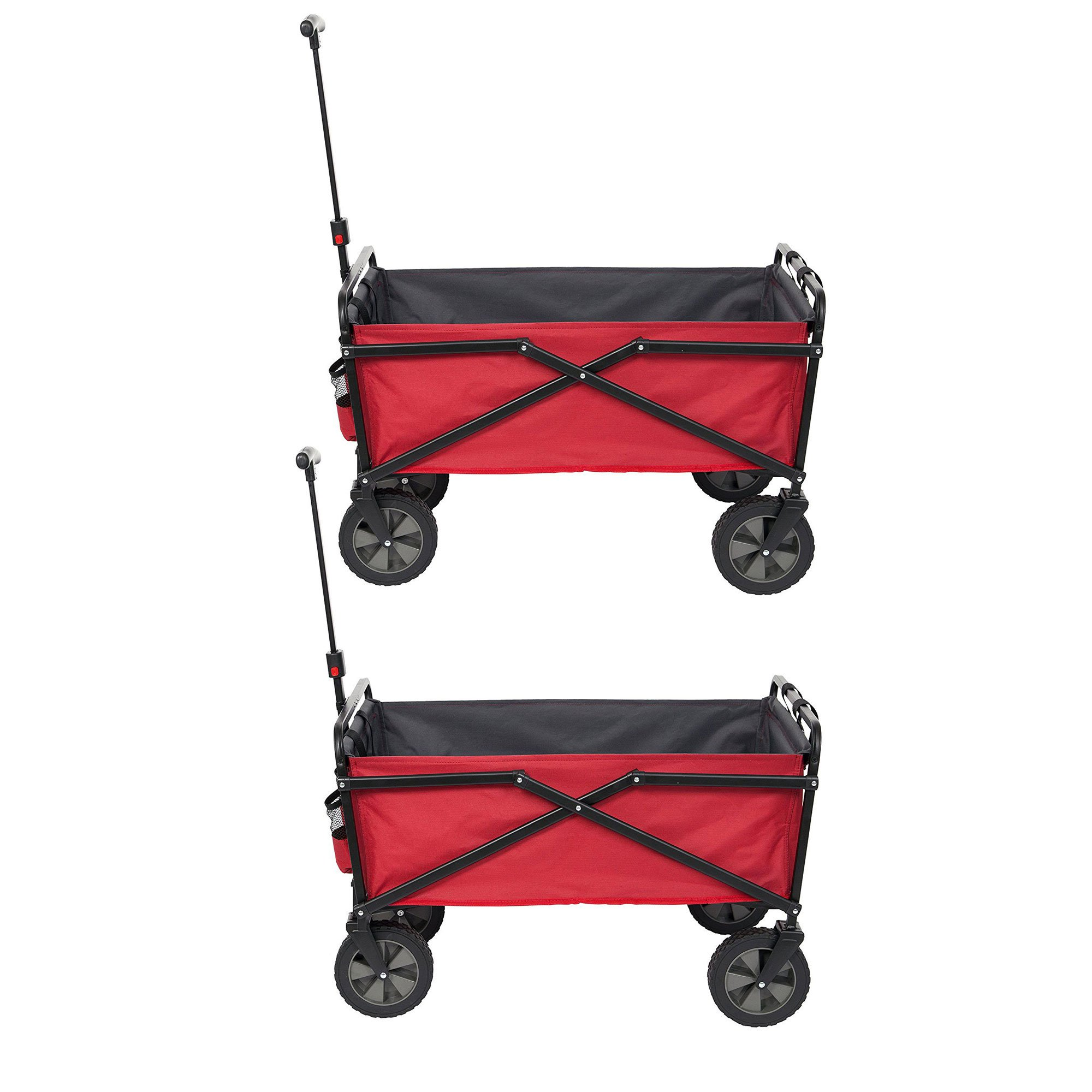 Seina Collapsible Steel Frame Folding Utility Wagon Garden Cart, Red (2 Pack)