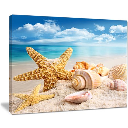 Design Art 'Starfish and Seashells on Beach' Graphic Art on Wrapped Canvas