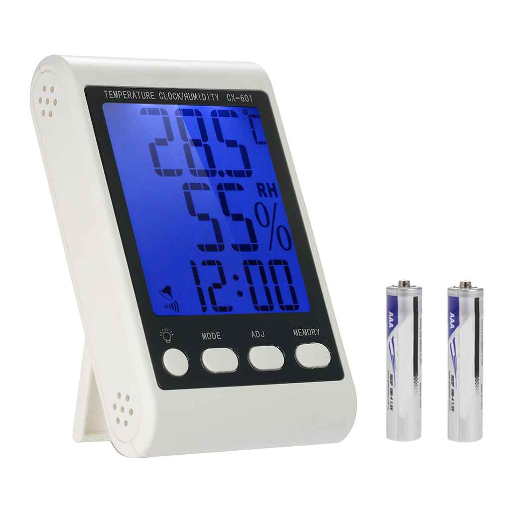 Bonrich CX-601 High Precision Large Screen Electronic Hygrometer High Sensitive Sensor Digital Thermo Hygrometer White