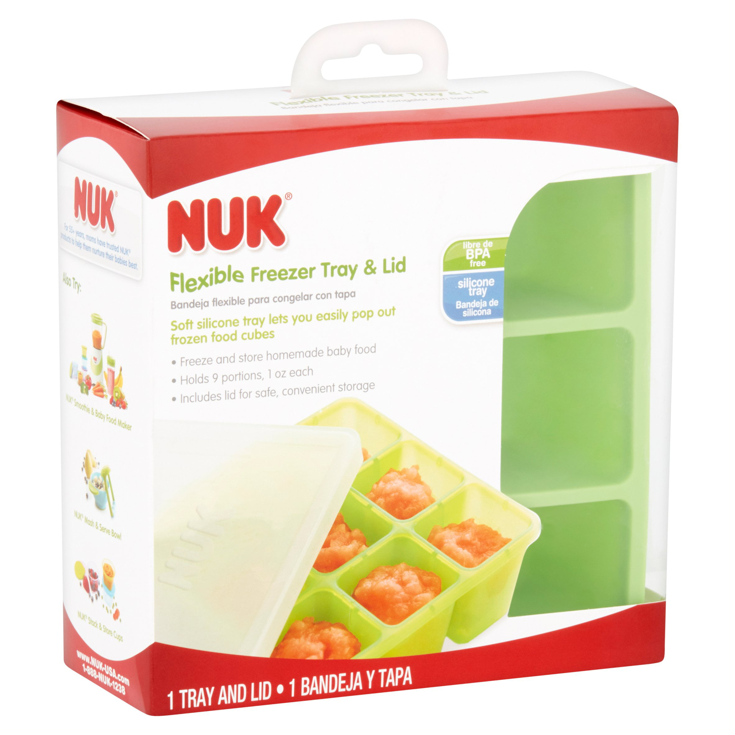 Homemade Baby Food Storage Containers Part - 20: NUK Silicone Baby Food Freezer Tray, Green - Walmart.com
